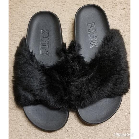 e4806b32464d5 Black Faux Fur Crisscross Slides by Pink